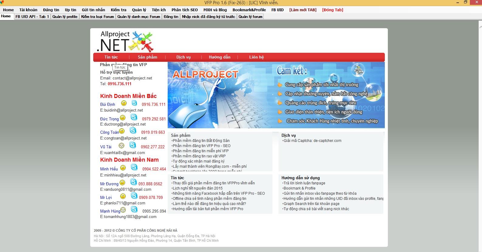Phần mềm đăng tin VFP Pro - SEO